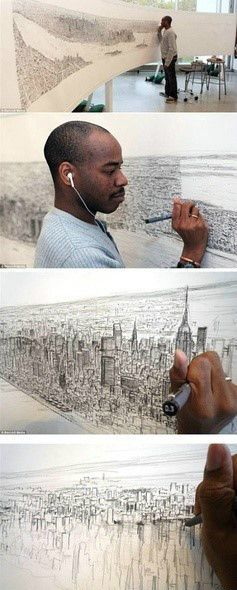 """""""Stephen Wiltshire MBE, Hon.FSAI., is a British architectural artist who has been diagnosed with autism. He is known for his ability to draw from memory a landscape after seeing it just once. His work has gained worldwide popularity.""""  Source:  Wikipedia"""