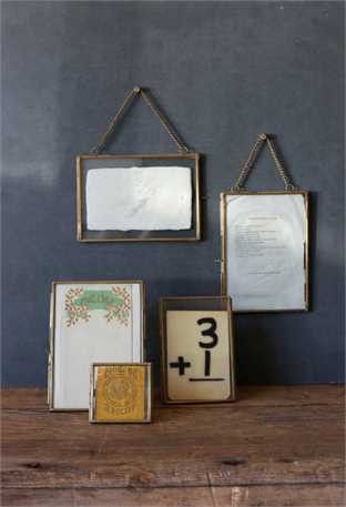 Brass and Glass Photo Frame with Chain for hanging