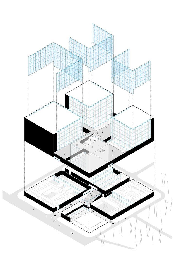 Campo Baeza . LA GEODE . Lausanne. Un edificio FUNCIONALMENTE impecable. El programa se divide en 4 grupos que se traducen en las 4 torres que proponemos. Responden con su tamaño creciente al programa que se nos pide, se apoyan en un basamento común donde se ubican los espacios más públicos y sus circulaciones generales.