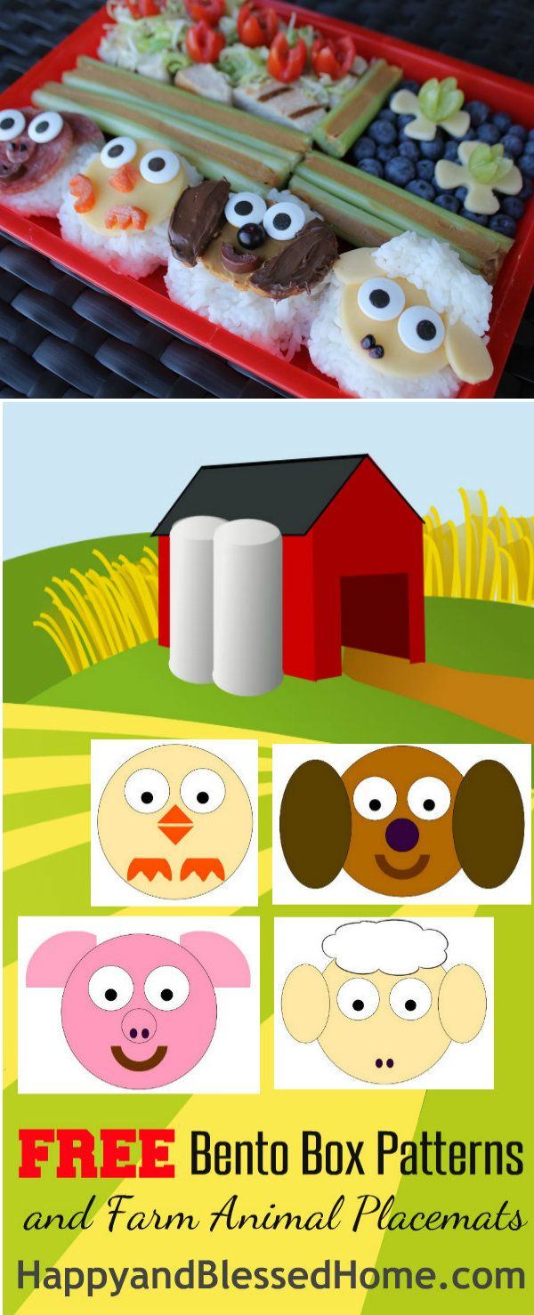 Bento Box Photo with Free Printables for FREE Bento Box Patterns and FREE Farm Animal Placemats for Kids from HappyandBlessedHome.com