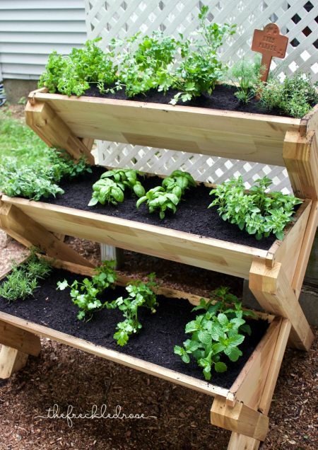 This cedar planter is a super cute way to grow herbs for Garden planter ideas