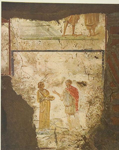 Catacombe di Pretestato, Roma. Gli affreschi del III secolo. Cristo e samaritana