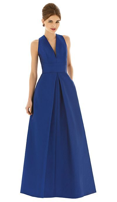 Alfred Sung D611 Long Sleeveless Bridesmaid Dress- Full length sleeveless V neck dupioni bridesmaid dress with inset waistband and inverted pleat at front and back skirt. Pockets at side seams of skirt.