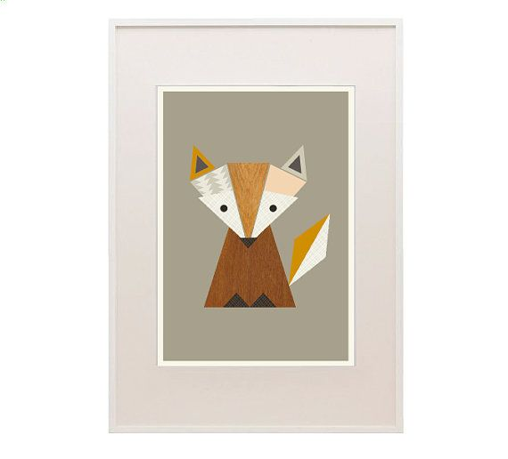 Little Fox Nursery Art Woodland print Fox art por LittleDesignHaus