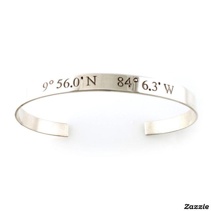 Sterling Silver Custom Coordinates Cuff Bracelet