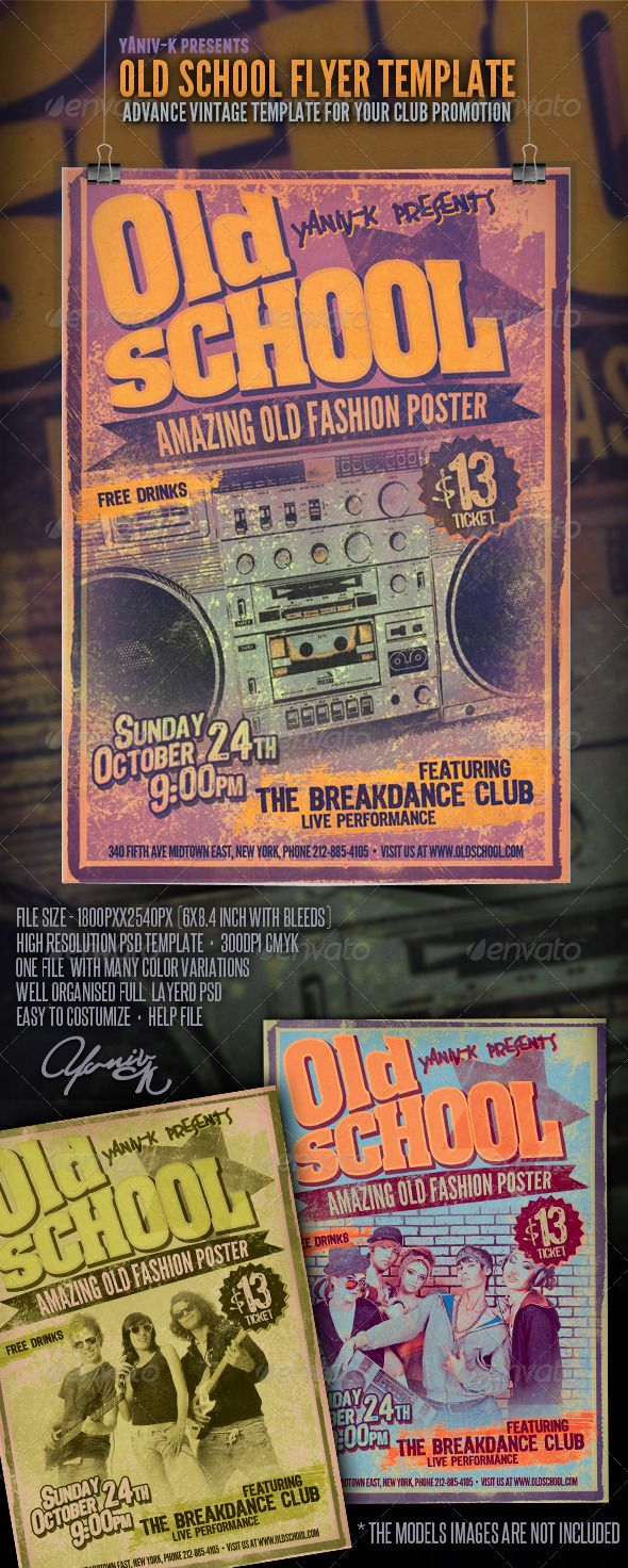 Old School Flyer Template #GraphicRiver Old School Flyer Template This vintage style template designed to promote any great 80's, 90's parties and more FEATURS: The PSD file dimensions are: 1800×2540 (6×8.4 inches with bleeds) 300dpi resolution Color mode: CMYK Print ready The file is well organized, separated in color groups and layers named appropriately Very easy to customize (created with Adobe Photoshop CS5 ) Instructions on editing the file is included. Fonts used in the file: League…