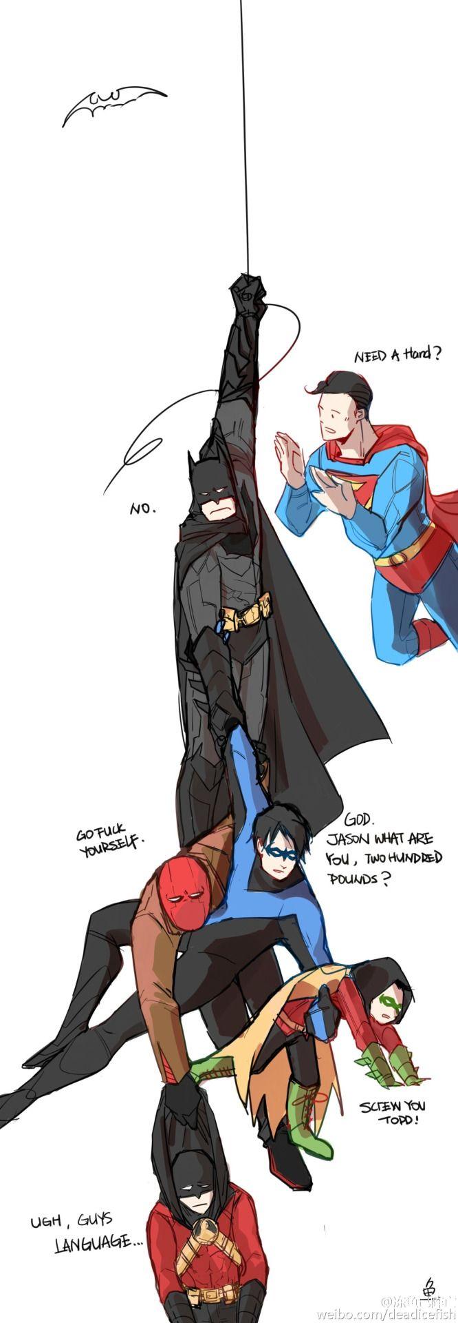 Batfamily. Batman. Nightwing. Red Hood. Red Robin. Robin. Ahahaha. These idiots.