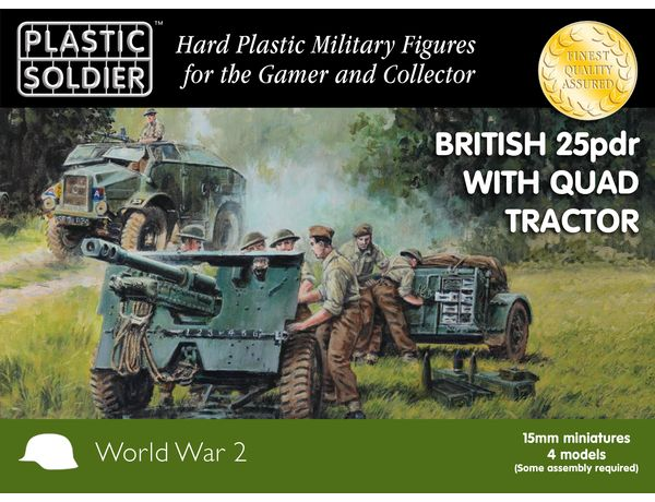 The Plastic Soldier Company 15mm British 25pdr & Morris Quad Tractor from the plastic model kits range provides a selection of highly detailed miniatures that accurately recreate the real life British guns and crew from World War II.