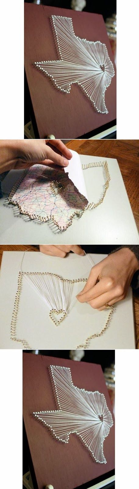 Great and simple DIY project for you favorite trips. Map it out in string. #travel #memorabilia #map