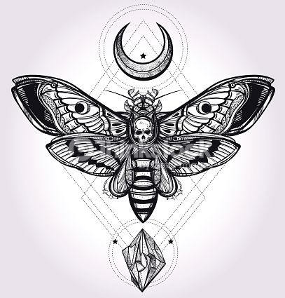 Deaths head hawk moth with moons and stones. Design tattoo art....