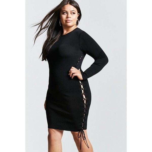 Forever21 Plus Size Lace-Up Bodycon Dress ($30) ❤ liked on Polyvore featuring plus size women's fashion, plus size clothing, plus size dresses, black, stretch bodycon dress, long sleeve cocktail dresses, criss cross bodycon dress, bodycon dress and laced dress
