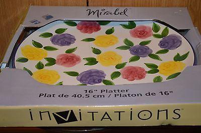 Tabletop 16 inch platter Mirabel hand painted Microwave Oven Dishwasher safe