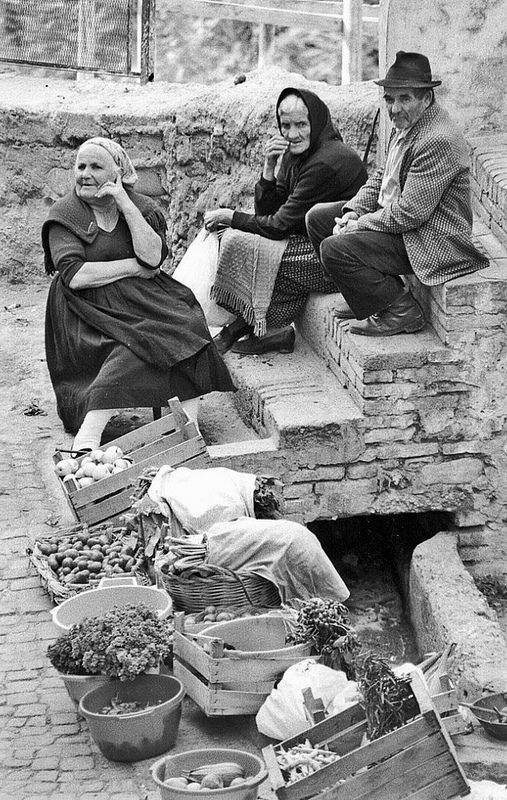 Italian Vintage Photographs ~ #Italy #Italian #vintage #photographs ~ Basilicata - Il banco della frutta e verdura