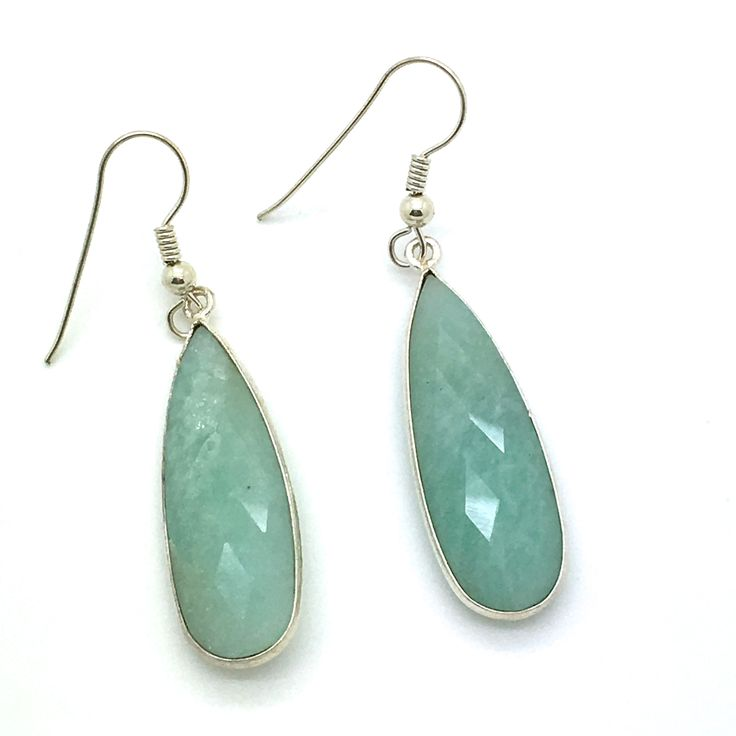 """Spring Fling is a 2"""" Long Bezel Set Pair of Earrings in Sterling Silver with Light Green Chalcedony. Product #15-055"""