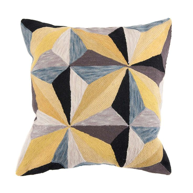 Transform your living room into the stylish centre of your home with our grey and yellow geometric wool cushion.
