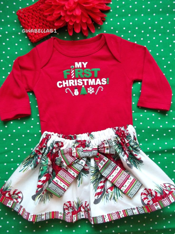 My First Christmas outfit baby girl candy cane by GinaBellas1, $29.50