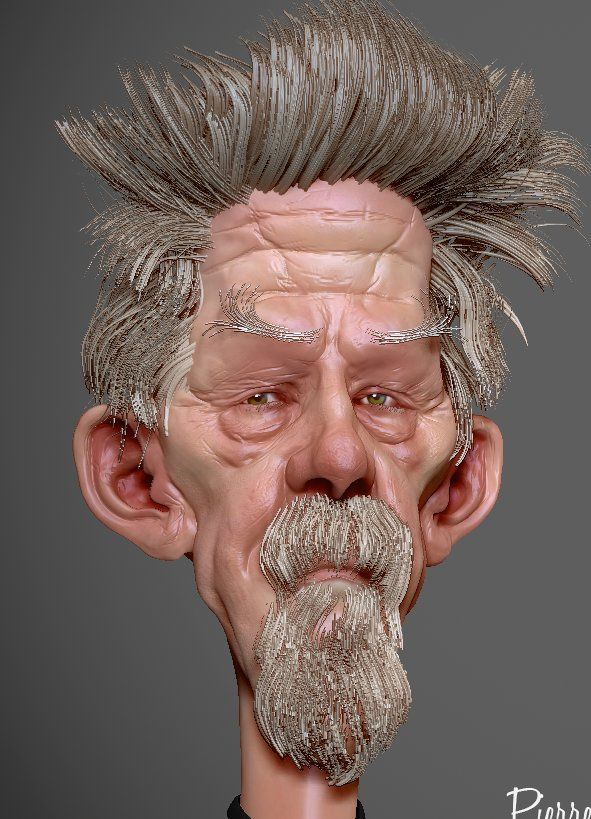 Speed sculpt zbrush WIP of John Hurt based on 2D concept by David Boudreau, Pierre Benjamin on ArtStation at https://www.artstation.com/artwork/49xlW