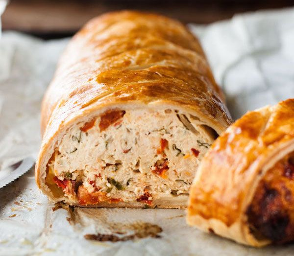 A cross between a meatloaf and Beef Wellington, but made with chicken and the added bonus of sun dried tomatoes!