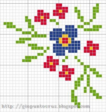 Flor punto de cruz