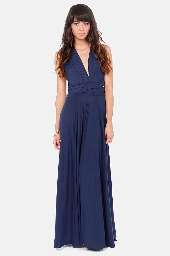 Tricks of the Trade Navy Blue Maxi Dress at LuLus.com! 68 dollar