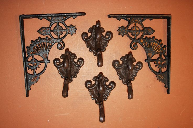 6) Antique-look Victorian Wall Decor, Free Shipping, Shelf Brackets, Wall Hooks, Solid Cast Iron, Elegant Victorian Shelf Brackets by WePeddleMetal on Etsy