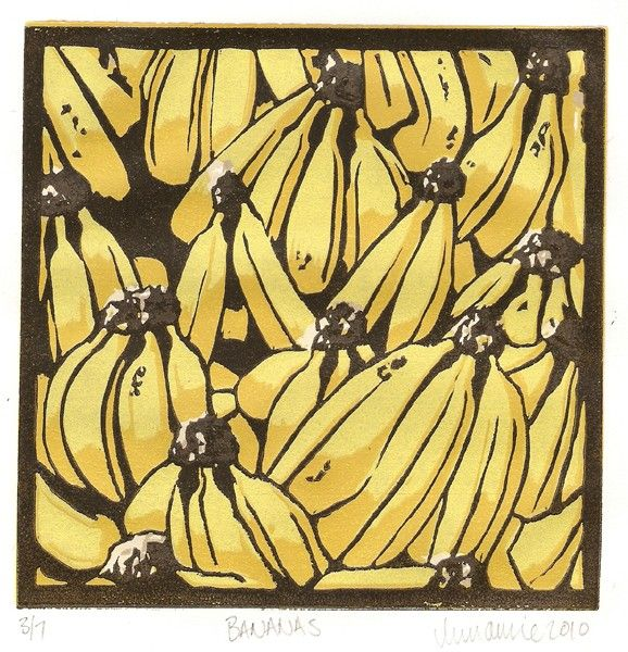 Bananas - Original Lino Print. $30.00, via Etsy.