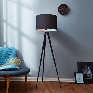 Romanza Matte Black Tripod Floor Lamp with Black Shade (60.23 inches) - 18545435 - Overstock - Great Deals on Teamson Floor Lamps - Mobile