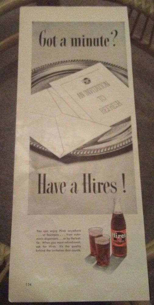 1954 Vintage ad for Hires Root Beer