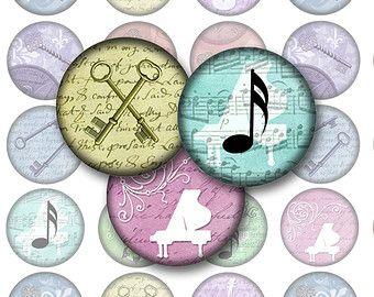 Motifs Vintage Bottlecap Images / squelette clés, Notes de musique, violon, papillon / cercles de 1 pouce de Collage numérique imprimable téléchargement immédiat