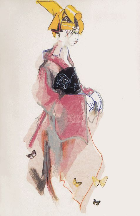 Julie Verhoeven for John Galliano - 1994 - Fashion illustration - @~ Mlle #illustration #drawing #girl
