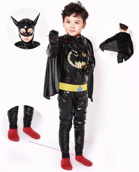 Kids Batman Costume Black Hooded Jumpsuit