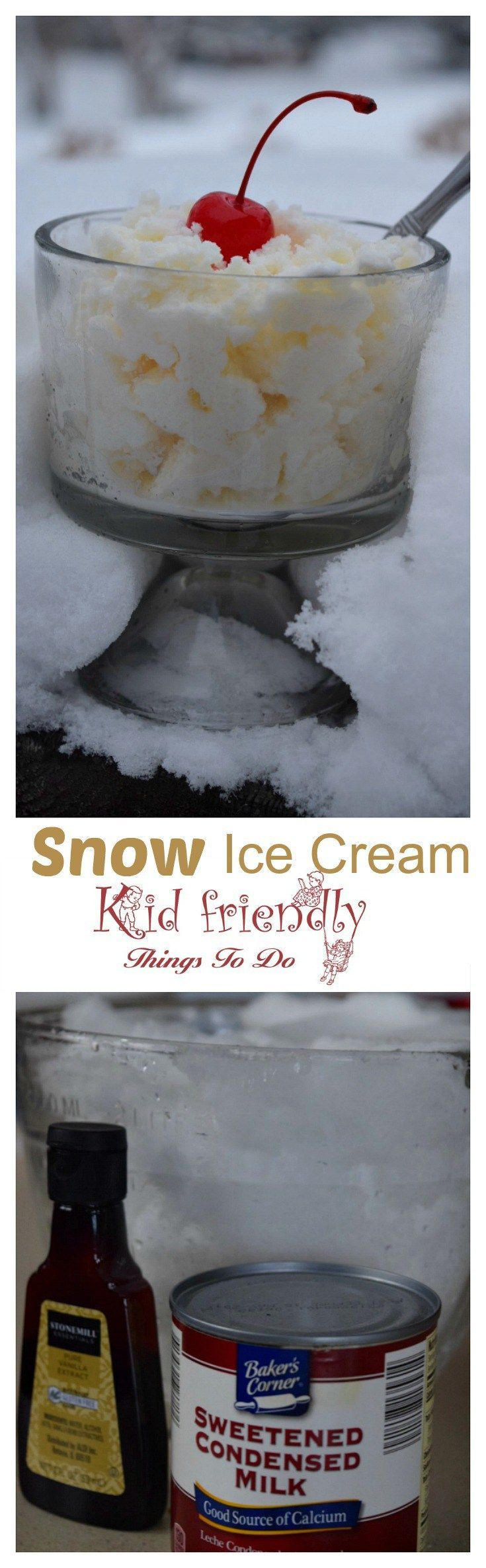 Simple and Delicious Three Ingredient Snow Ice Cream Recipe made with Sweetened Condensed Milk - This is so much fun to do with the kids and so easy to make. http://www.kidfriendlythingstodo.com