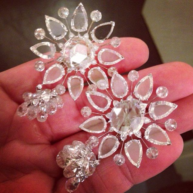 Diamond Earrings by Viren Bhagat from FD Gallery - Flat, Rose, Bead and Briolette-cut Diamond Ear Clips, by Viren Bhagat