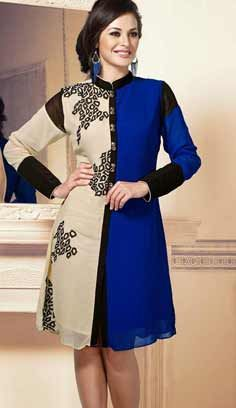 Traditional Ethnic Blue Bamberg Georgette Kurti