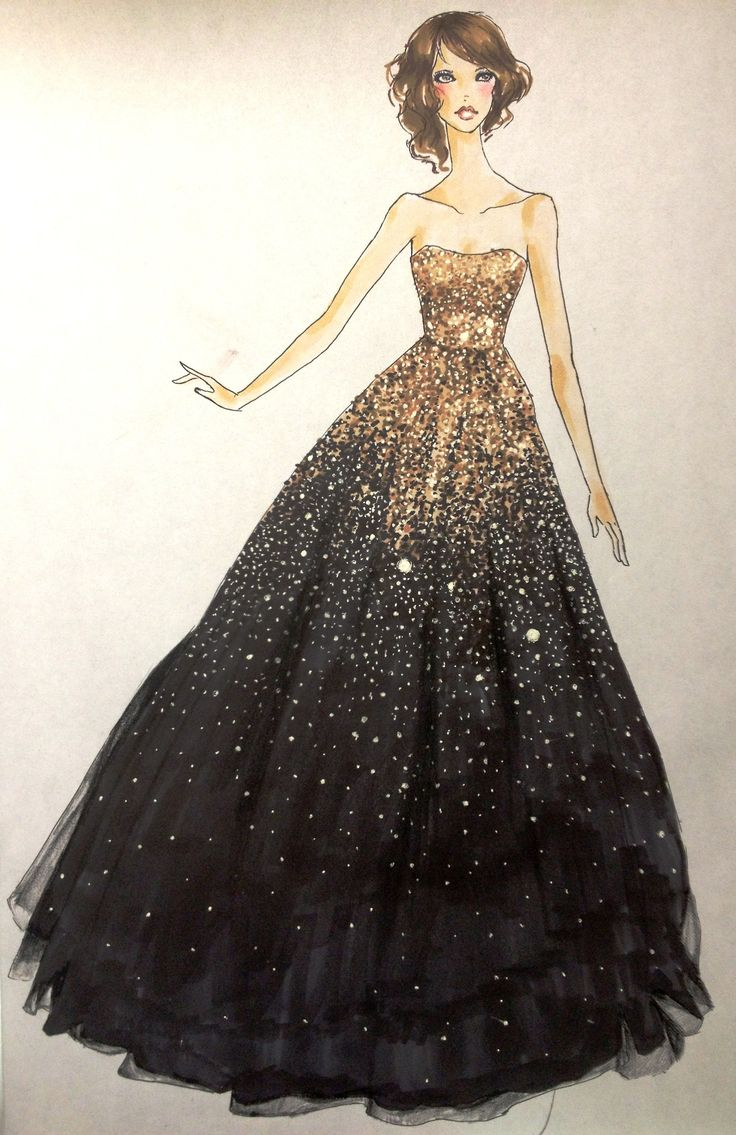 Gorgeous Marchesa gown that Olivia Wilde wore to the 2011 golden globes / Bel vestito indossato per i golden globes 2011 dall'attrice Olivia Wilde - Illust: Ana-Mata-Pia #BeautifulDress #BelVestito