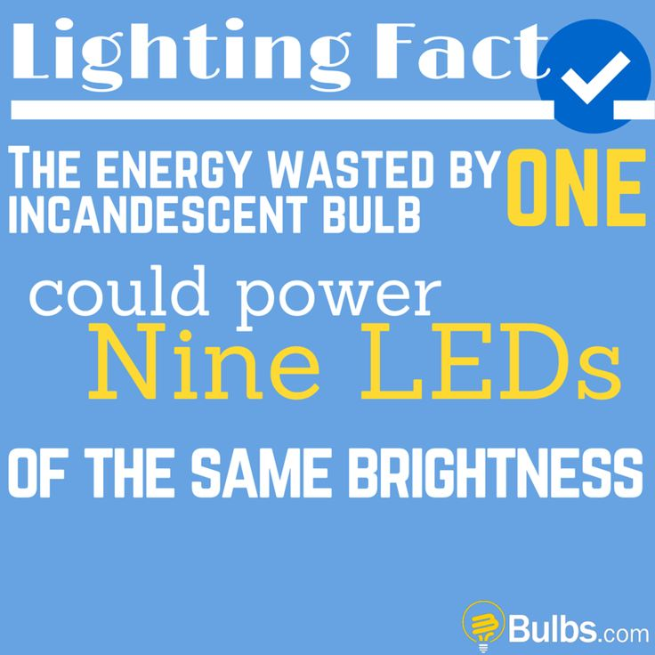 Lighting Fact: The energy wasted by one incandescent bulb could power nine LEDs of the same brightness.