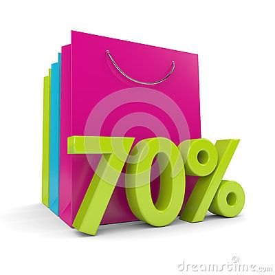3d rendering of shopping bags and 70% discount over white background
