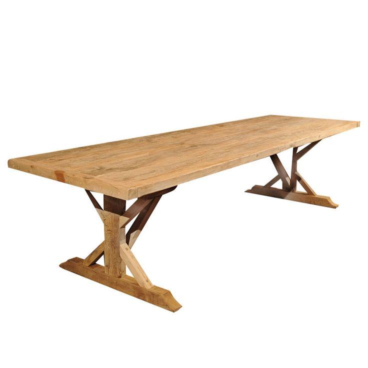 Large oak trestle table for sale antiques