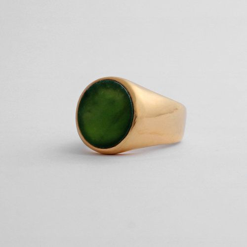 Large Signet Gold + Pounamu / greenstone by Marama jewellery New Zealand