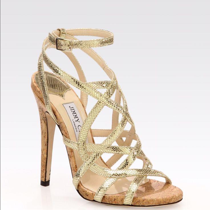 Jimmy Choo Gold Snake Skin Strappy Sandals