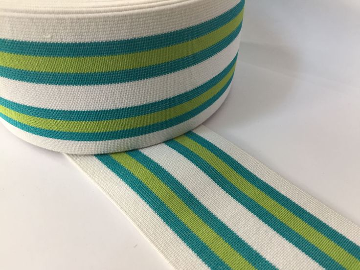 2.4 in (6 cm) White and Green Striped Elastic Webbing,  Belt Elastic, Wasitband elastic, elastic for bomber jackets, shoe elastic by NoaElastics on Etsy