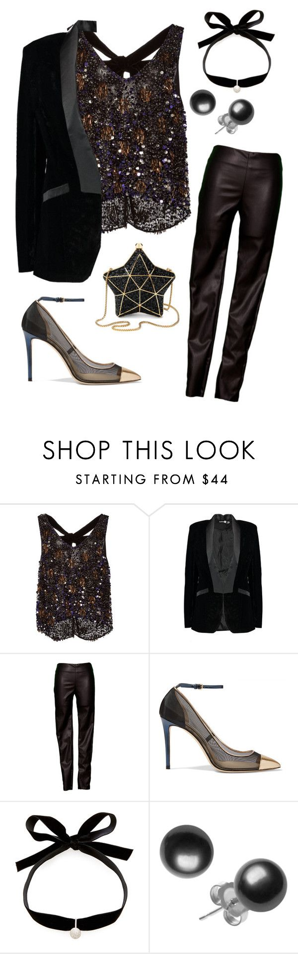 """""""NYE"""" by jessiefine24 ❤ liked on Polyvore featuring Monique Lhuillier, Boohoo, Velvet by Graham & Spencer, Jimmy Choo, Mateo and Aspinal of London"""