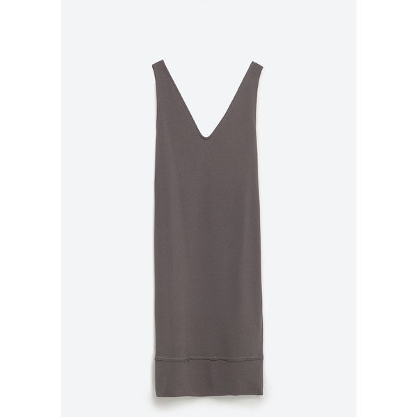 Zara Dress With Seam Details (€24) ❤ liked on Polyvore featuring dresses, dark grey, zara dresses, dark grey dress and dark gray dress