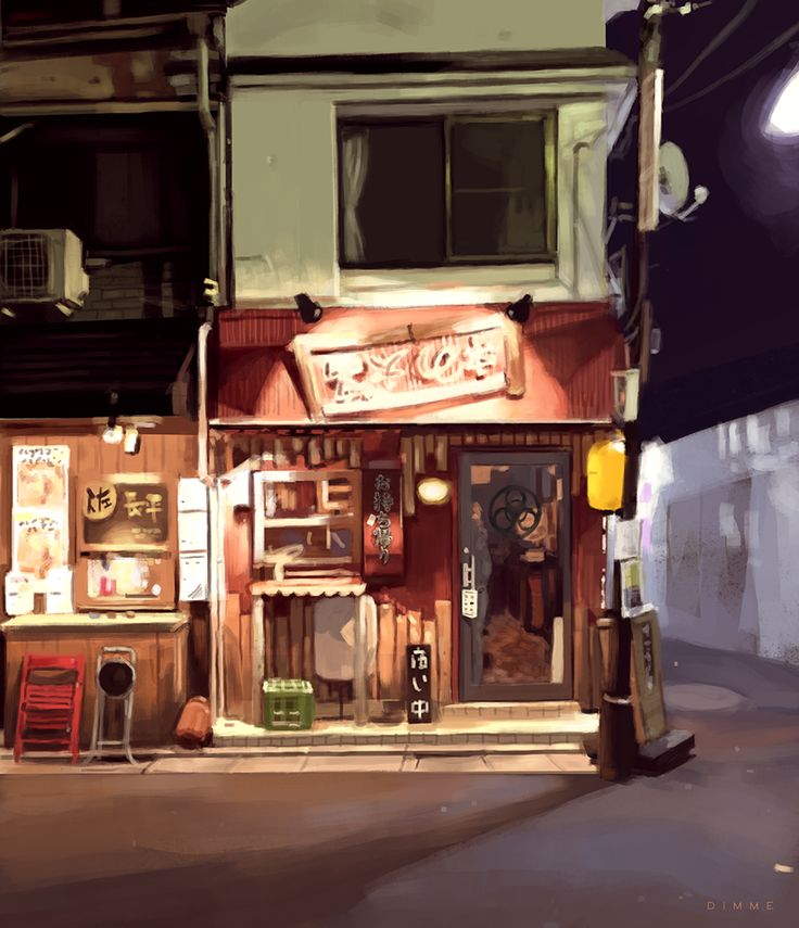 Tokyo Moon restaurant | Digital painting by Dimme McWood | www.monkeyboy.nl