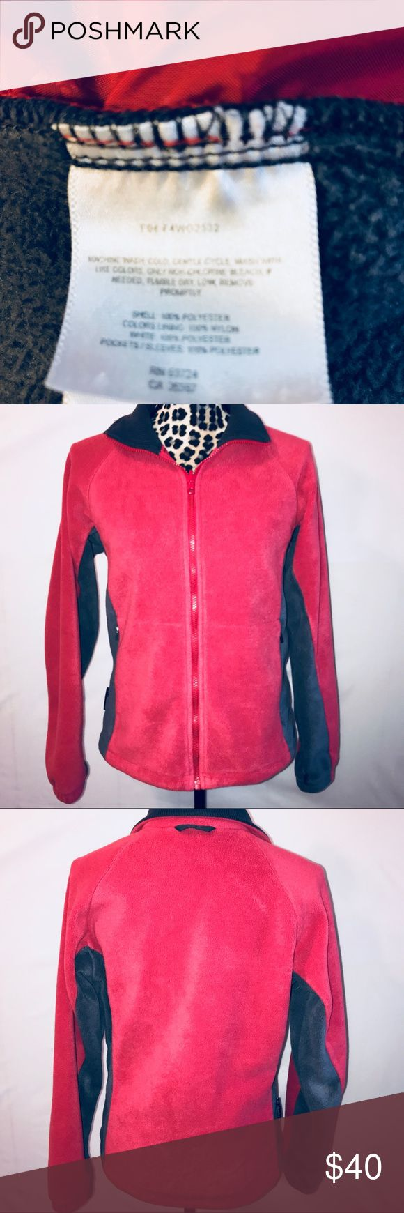 Women's Columbia vertex fleece zipup jacket medium Women's Columbia sportswear company zipup fleece jacket, size medium, colors red & gray, in excellent used condition, has 2 pockets Columbia Jackets & Coats
