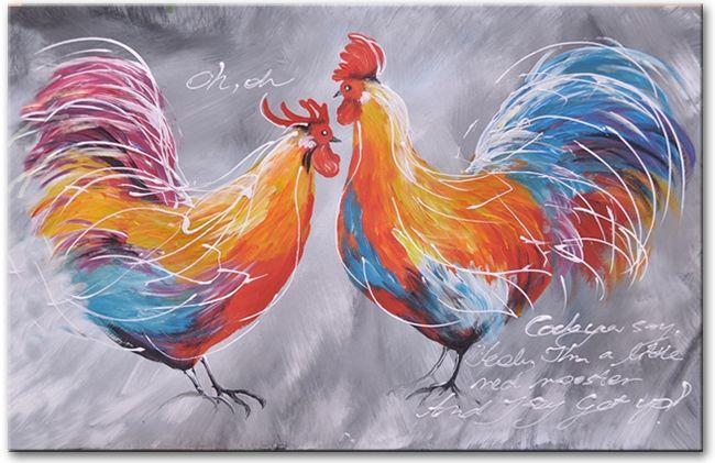 Een kunstschilderij met twee mooi gekleurde hanen.