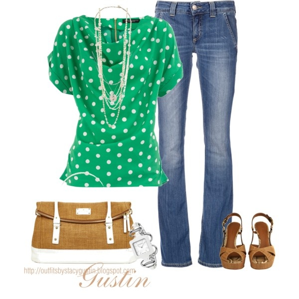 kelly green dots, created by stacy-gustin: Homecoming Outfit, Green Tops, Cute Tops, Polka Dots, Casual Friday, Dreams Closet, Shirts, Day Outfit, Green Dots