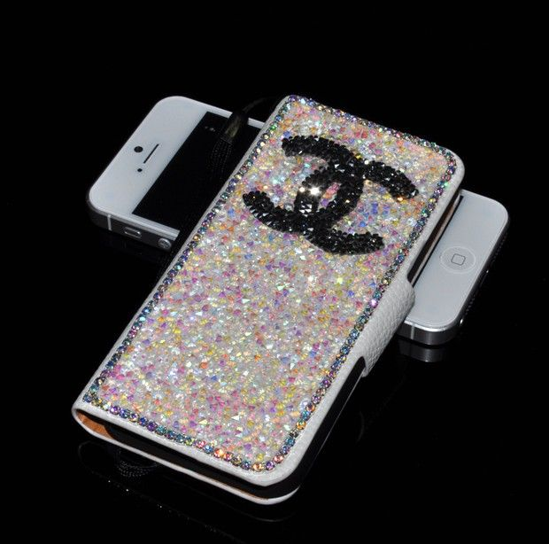 Chanel Swarovski Crystal Wallet Folio Stand Leather case for iPhone 5 - White