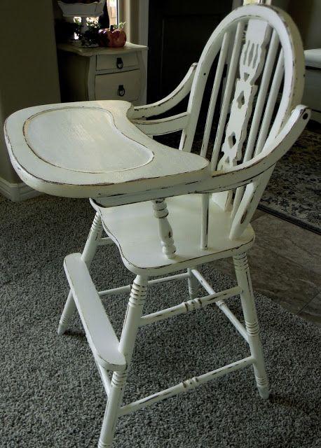 Little Bit of Paint: Refinished Antique High Chair (Betsy's Linen - Valspar)