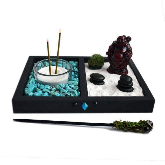 Mini giardino Zen / / Laughing Buddha Statue / / bruciatore di